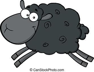 Schwarze Schafsfiguren springen.
