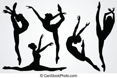 Schwarze Silhouette einer Ballerina