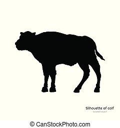 Schwarze Silhouette von Bison Calf auf weißem Hintergrund. Junge Büffel isolierte Zeichnung. Wildes Bullenbild. Tiere von Nordamerikanischen