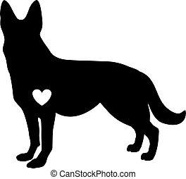 Schwarze Silhouette von deutschem Schäferhund mit weißem Herzen standig seitwärts