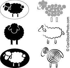 Schwarze Silhouette von Schafen