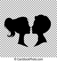 Schwarze Silhouetten von liebevollen Paaren, isoliert auf transparentem Hintergrund.