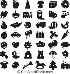 Schwarze Silhouettes Spielzeug