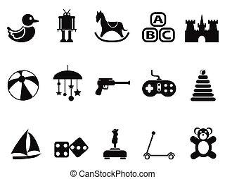 Schwarze Spielzeugsymbole eingestellt.