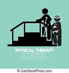 Schwarze Symbol Physiotherapie.