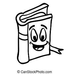 Schwarze und weiße Bücher lächeln.