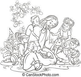 Schwarze und weiße Jesus mit Kindern