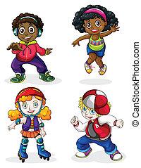Schwarze und weiße Kinder.