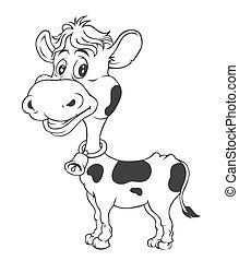 Schwarze und weiße Kuh Cartoon.