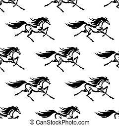 Schwarze und weiße Pferde nahtlos.