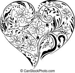 Schwarze und weiße Pflanzen und Blumen in Herzform