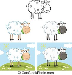 Schwarze und weiße Schafe. Sammlung
