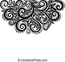 Schwarze und weiße Spitzenblumen und isolierte Blätter auf Weiß. Blumendesign-Element im Retrostil.