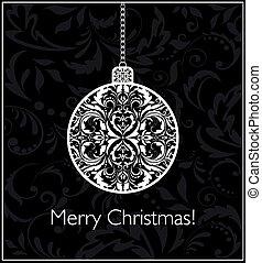 Schwarze und weiße Weihnachtskarte mit Hängeball.