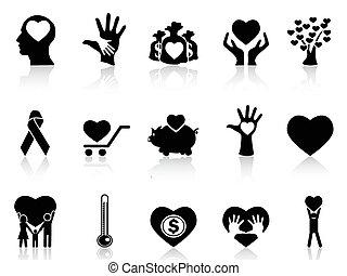 Schwarze Wohltätigkeit und Spenden-Ikonen