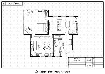 Schwarzer Architekturplan des Hauses im Blaupausenstil auf weiß.