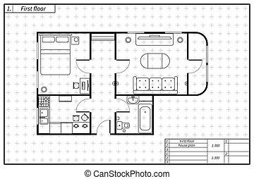 Schwarzer Architekturplan von Haus mit Möbeln im Design Zeichnung Stil.