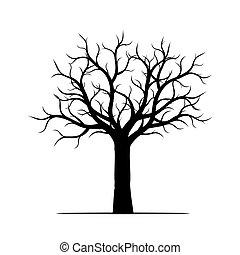 Schwarzer Baum ohne Blätter. Vector Illustration.