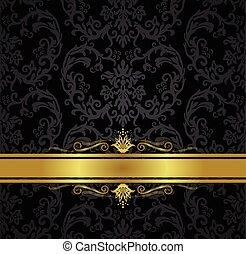 Schwarzer Blumentapete und Goldband