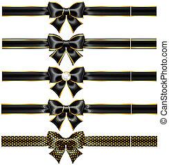 Schwarzer Bogen mit Gold und Bändern