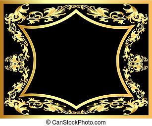 Schwarzer dekorativer Hintergrund mit Gold(en) Muster