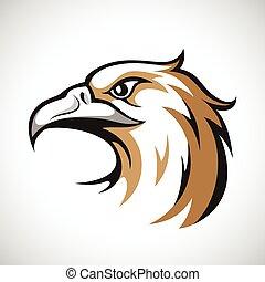 Schwarzer, grauer und brauner Adlerkopf auf weißem Hintergrund