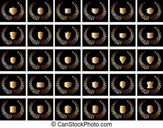 Schwarzer Hintergrund, Goldschild Vektorkunst