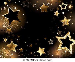 Schwarzer Hintergrund mit goldenen Sternen