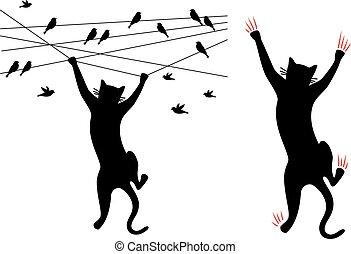 Schwarzer Katzenklettern, Vögel auf Draht, Vektor.