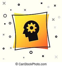 Schwarzer menschlicher Kopf mit Gang innen Icon isoliert auf weißem Hintergrund. Künstliche Intelligenz. Denke ans Gehirnzeichen. Symbolarbeit des Gehirns. Gelber Quadratknopf. Vector Illustration