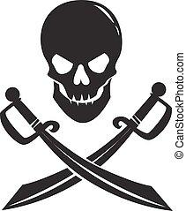 Schwarzer Schädel mit Schwertern, isoliert auf weißem Hintergrund.
