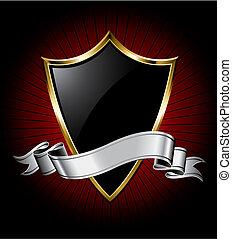 Schwarzer Schild und Silberband