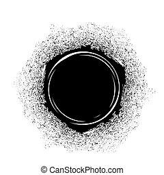 Schwarzer Tintenfleck.