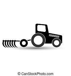 Schwarzer Traktor mit einem Pflug auf weißem Hintergrund.