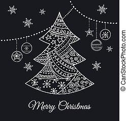 Schwarzer Weihnachtsbaum mit Doodles