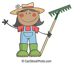 Schwarzes Bauernmädchen mit einer Harke