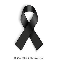 Schwarzes Bewusstseinsband auf weißem Hintergrund. Trauer und Melanom-Symbol.