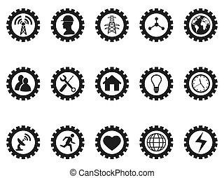 Schwarzes Getriebe Konzept Symbole gesetzt.