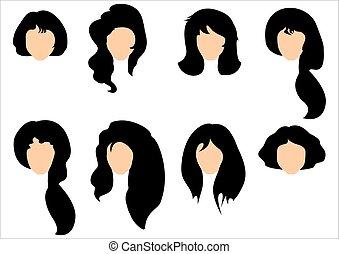 Schwarzes Haar stylischt für Frauen.