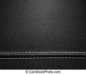 Schwarzes Leder mit Stich