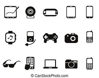 Schwarzes mobiles Gerät Icon Set.