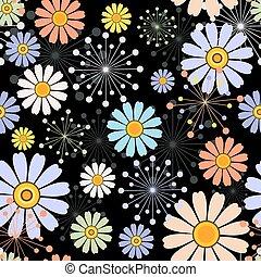 Schwarzes nahtloses Blumenmuster