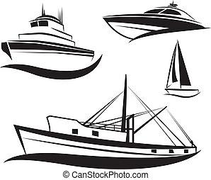 Schwarzes Schiff und Boot bereit.