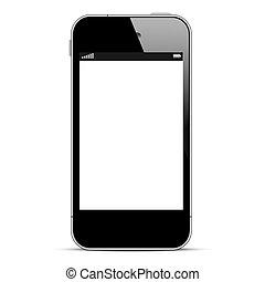 Schwarzes Smartphone isoliert im weißen Hintergrund