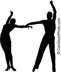 schwarzes, tänzer, silhouette