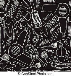 Schwarzweißmuster mit Friseurwerkzeugen.