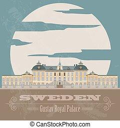 Schwedens Wahrzeichen. Retro-Stil