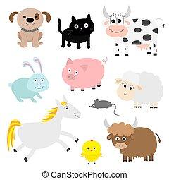 schwein, kuh, maus, schiff, kanninchen, wohnung, hund, chiken, bauernhoftier, baby, katz, set., design, pferd, hintergrund., style., bull.