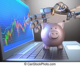 schweinchen, handel, roboter, bank, system