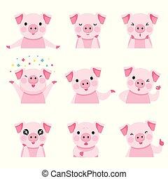 Schweine-Emoticons-Symbole sind eingestellt.